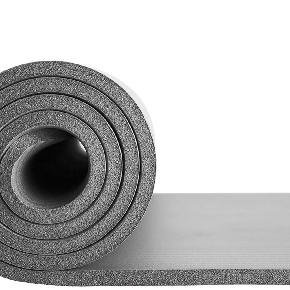 Reehut 1/2-Inch Thick Exercise Yoga Mat, Carry Strap, Grey
