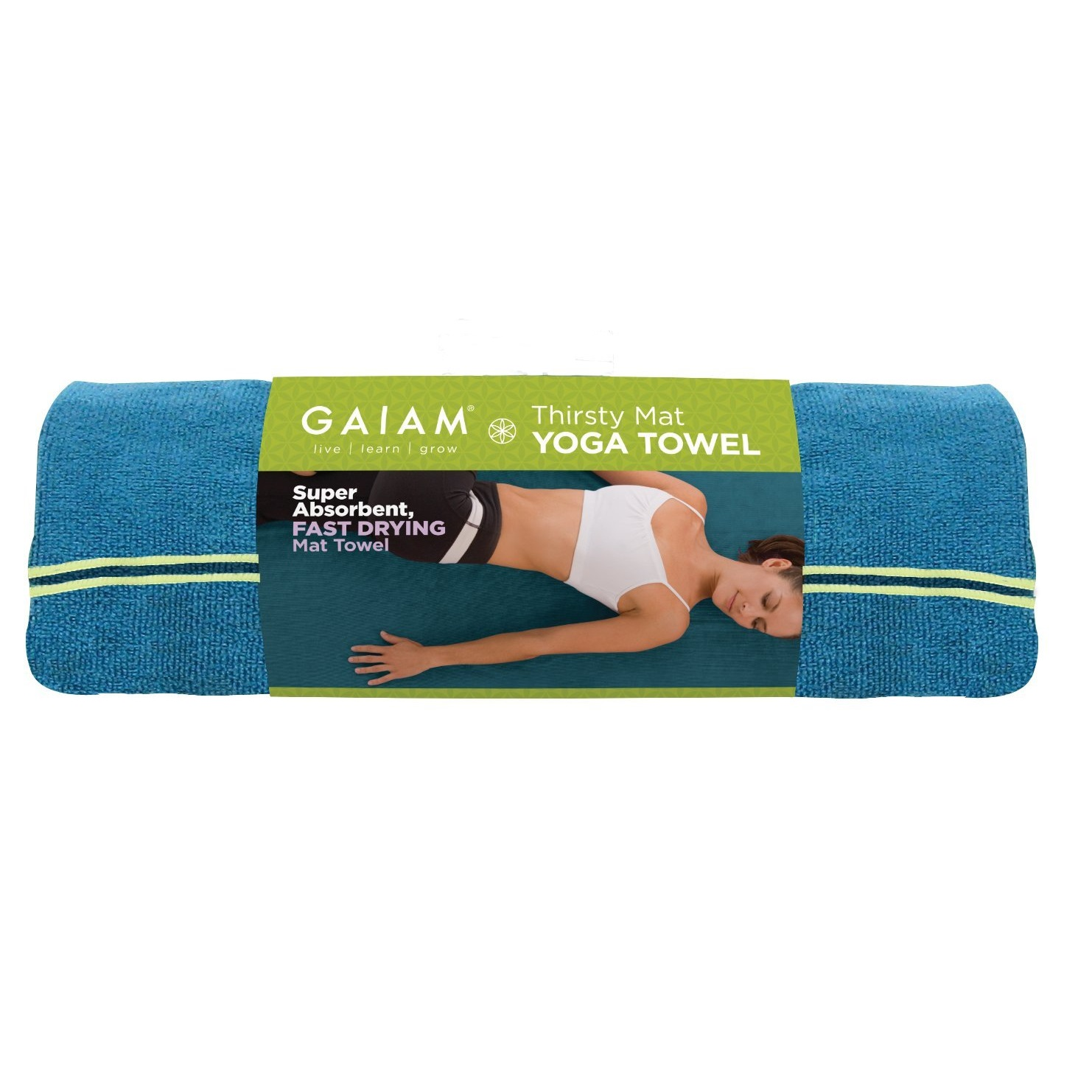 green gaiam stay mat towel ca trim of picture with purple put yoga