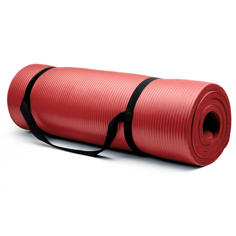 crown sporting goods 3/4 inch yoga mat red