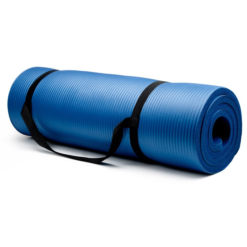 crown sporting goods 3/4 inch yoga mat blue