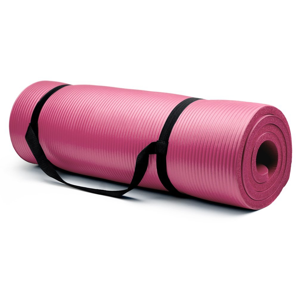 crown sporting goods 3/4 inch yoga mat pink