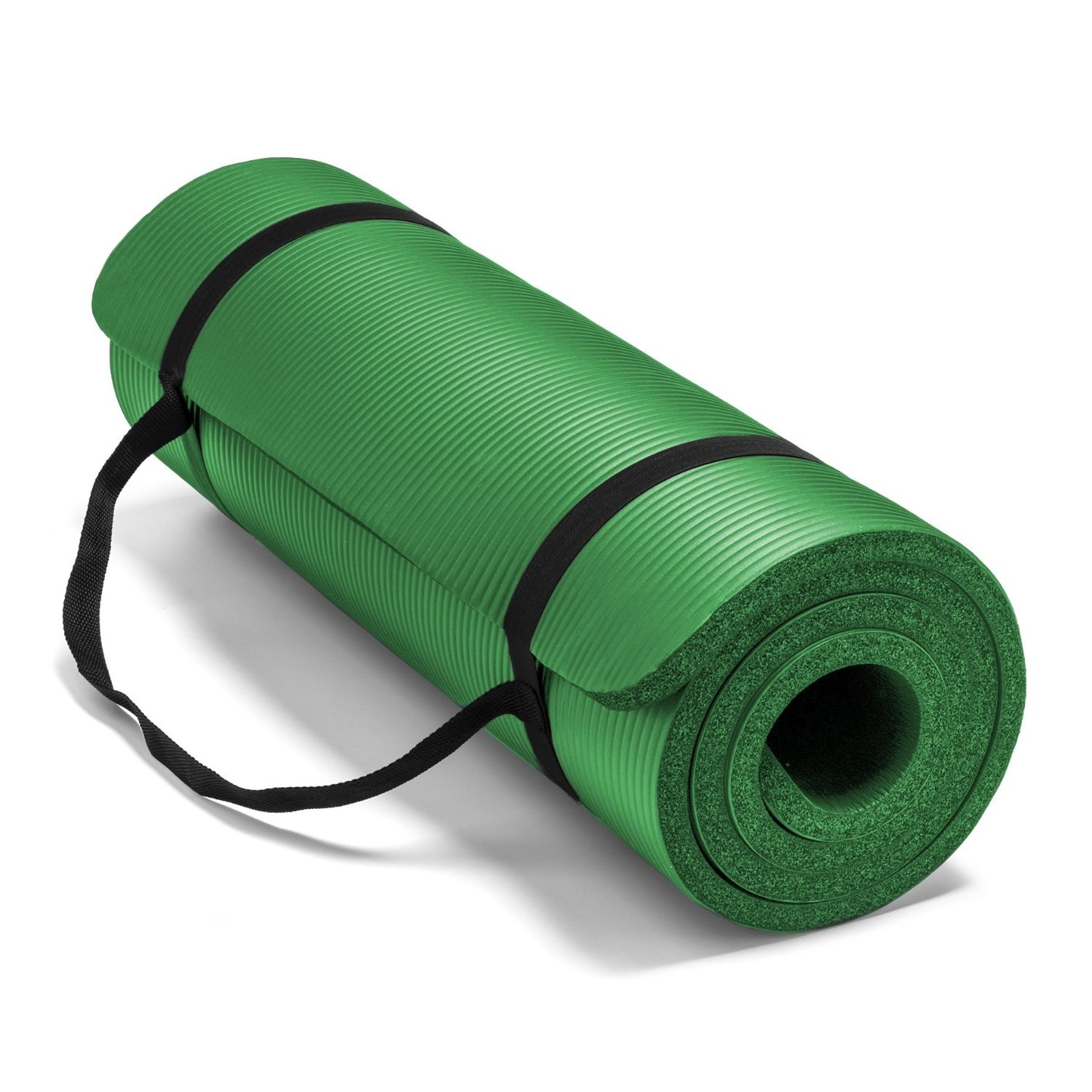 spoga premium 1/2 inch high density yoga mat with carrying strap green