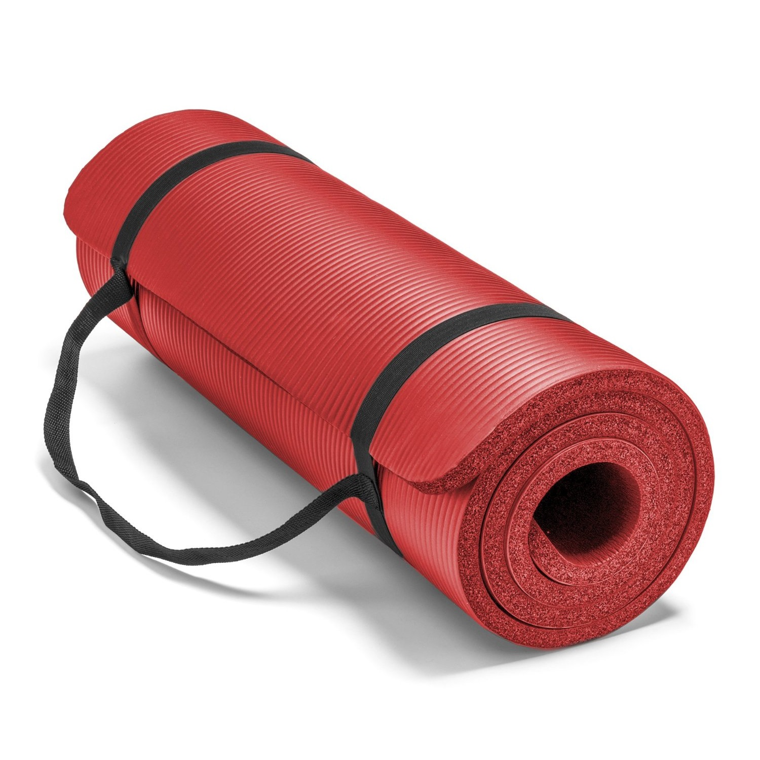 spoga premium 1/2 inch high density yoga mat with carrying strap red
