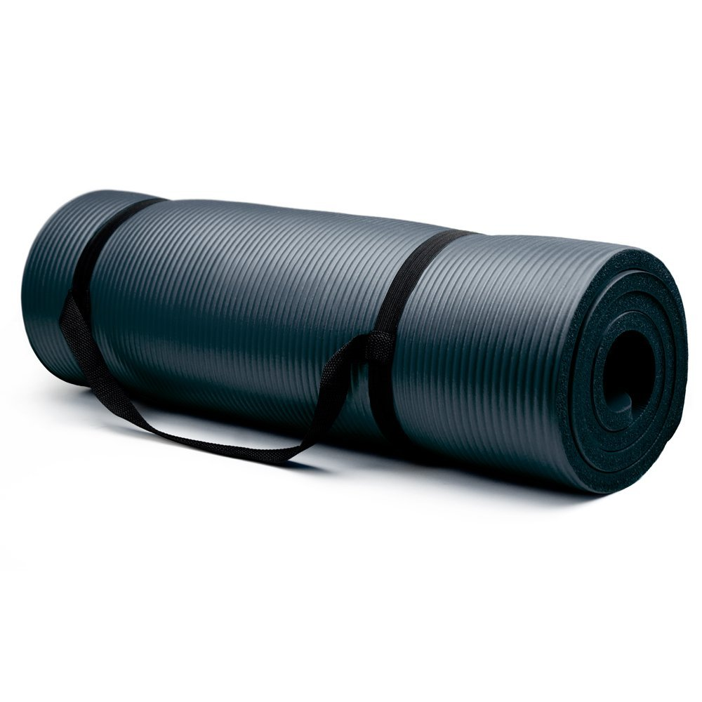 crown sporting goods 3/4 inch yoga mat black