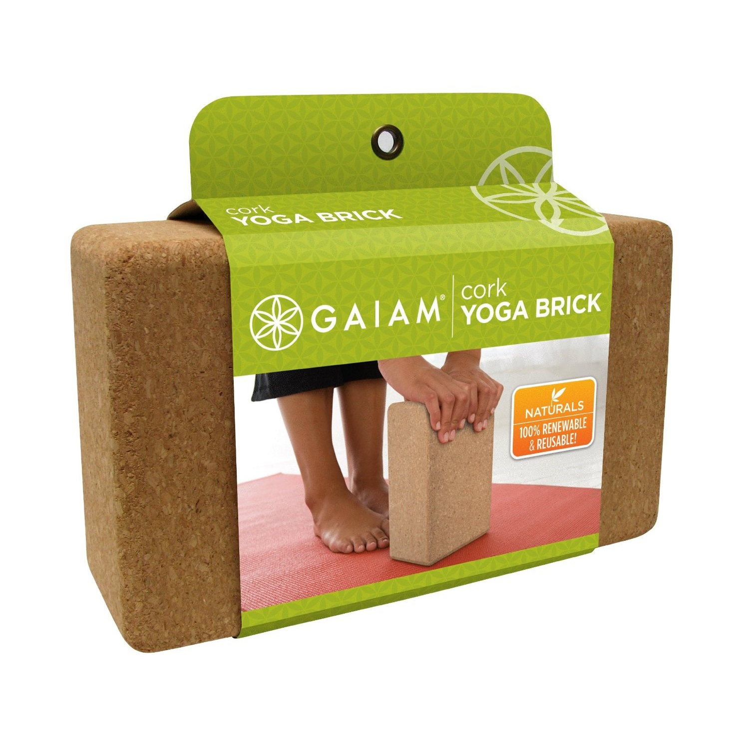 gaiam cork yoga brick