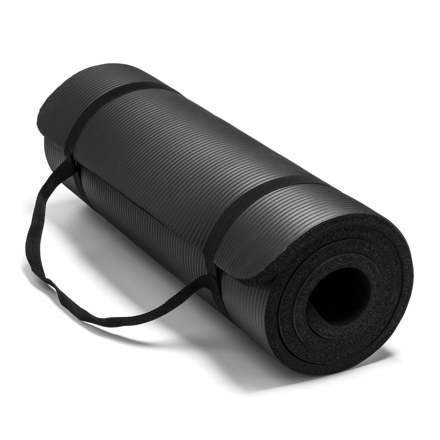 spoga premium 1/2 inch high density yoga mat with carrying strap black