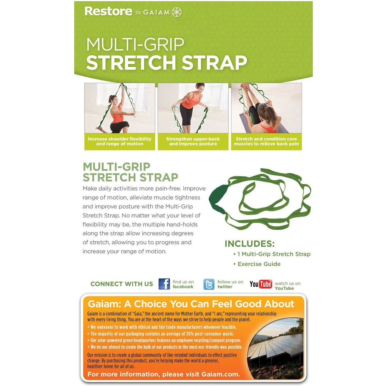 gaiam restore multi-grip stretch yoga strap