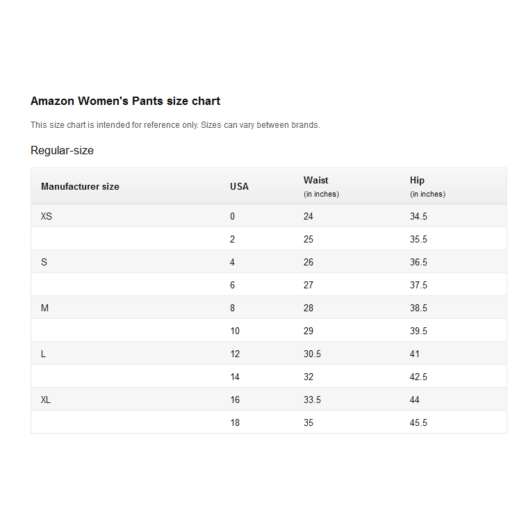 amazon womens pants size chart