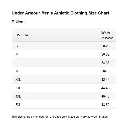 under armour mens athletic clothing size chart