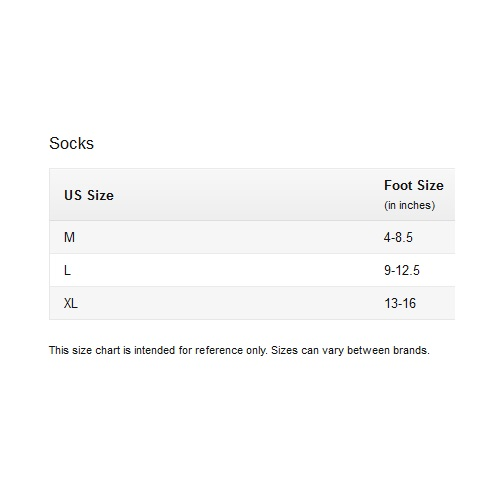 Under Armour Mens Socks Size Chart