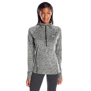 ua womens tech 1/2 zip twist yoga shirt