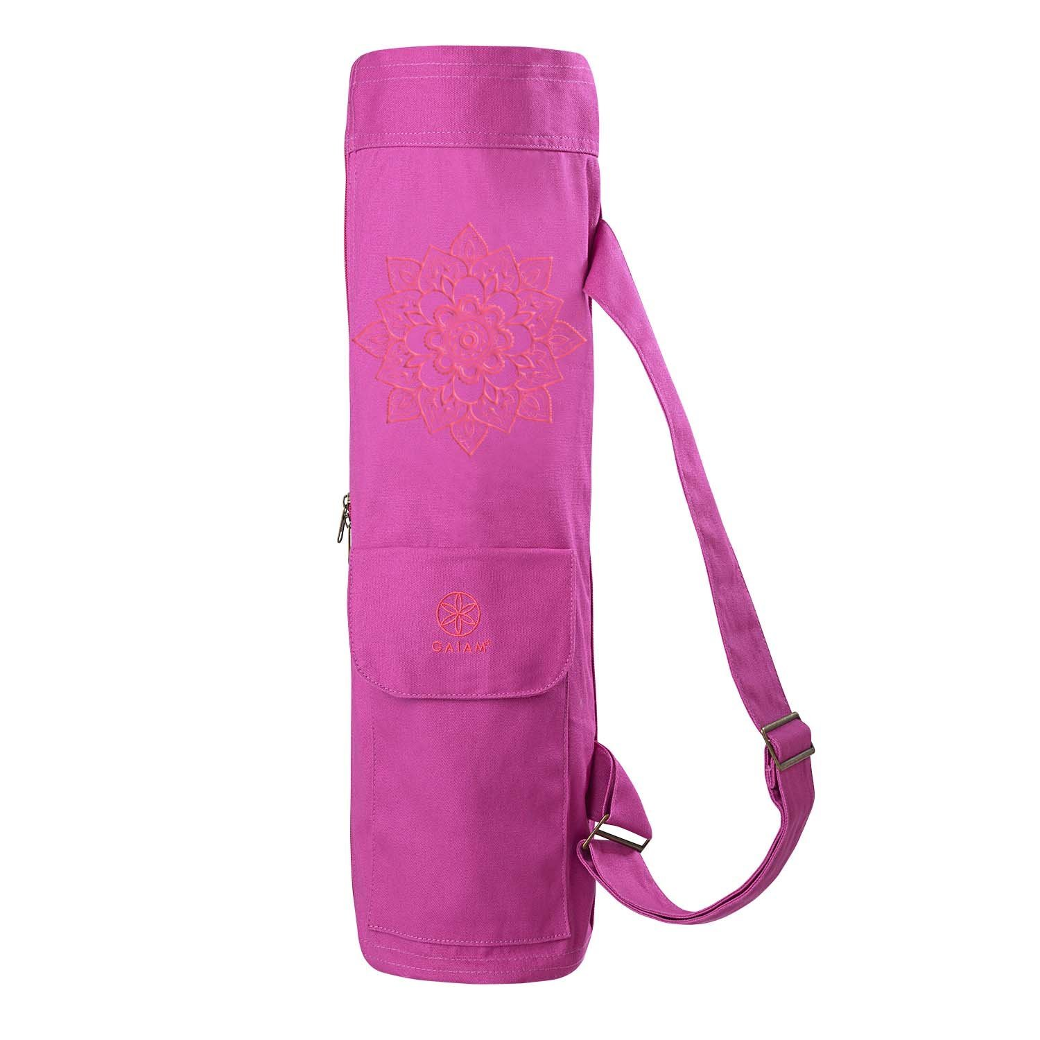 gaiam full-zip cargo pocket yoga mat bag pink sundial