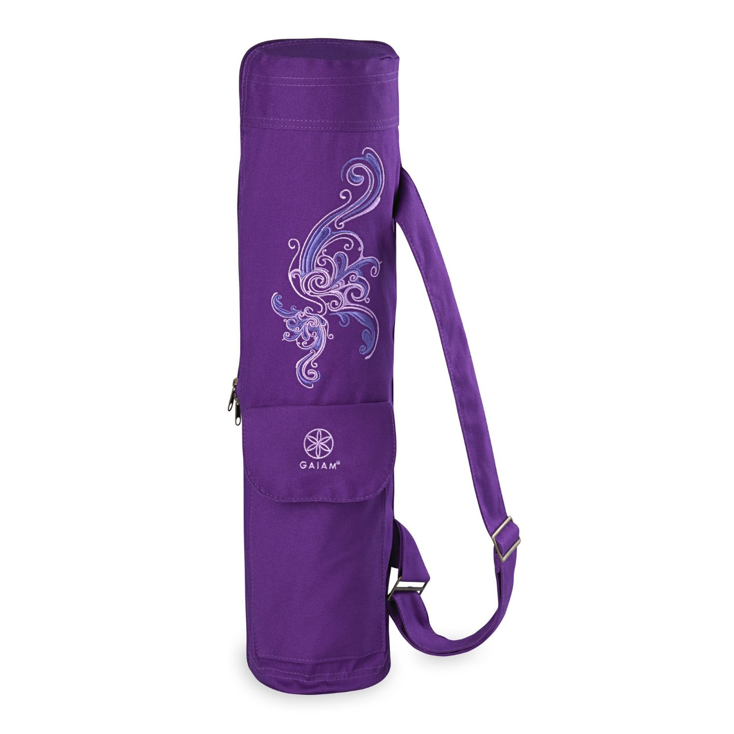 gaiam full-zip cargo pocket yoga mat bag deep plum surf