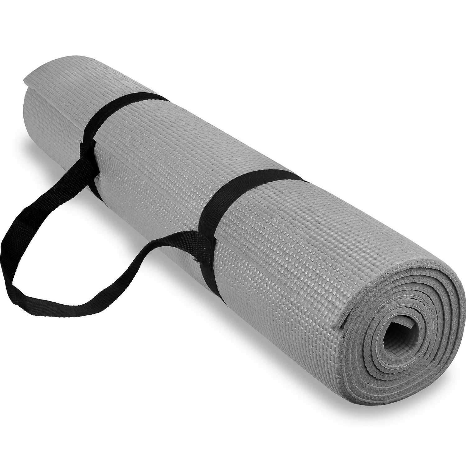 spoga anti-slip exercise yoga mat with carrying strap gray
