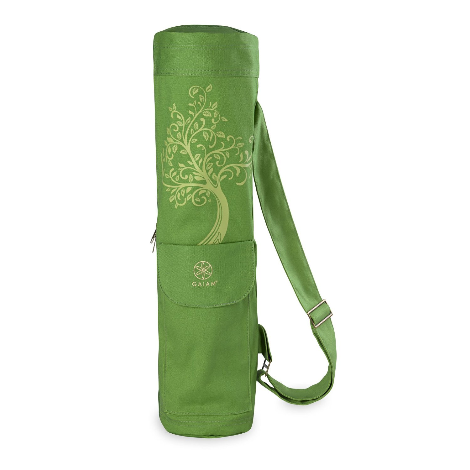 gaiam full-zip cargo pocket yoga mat bag tree of wisdom