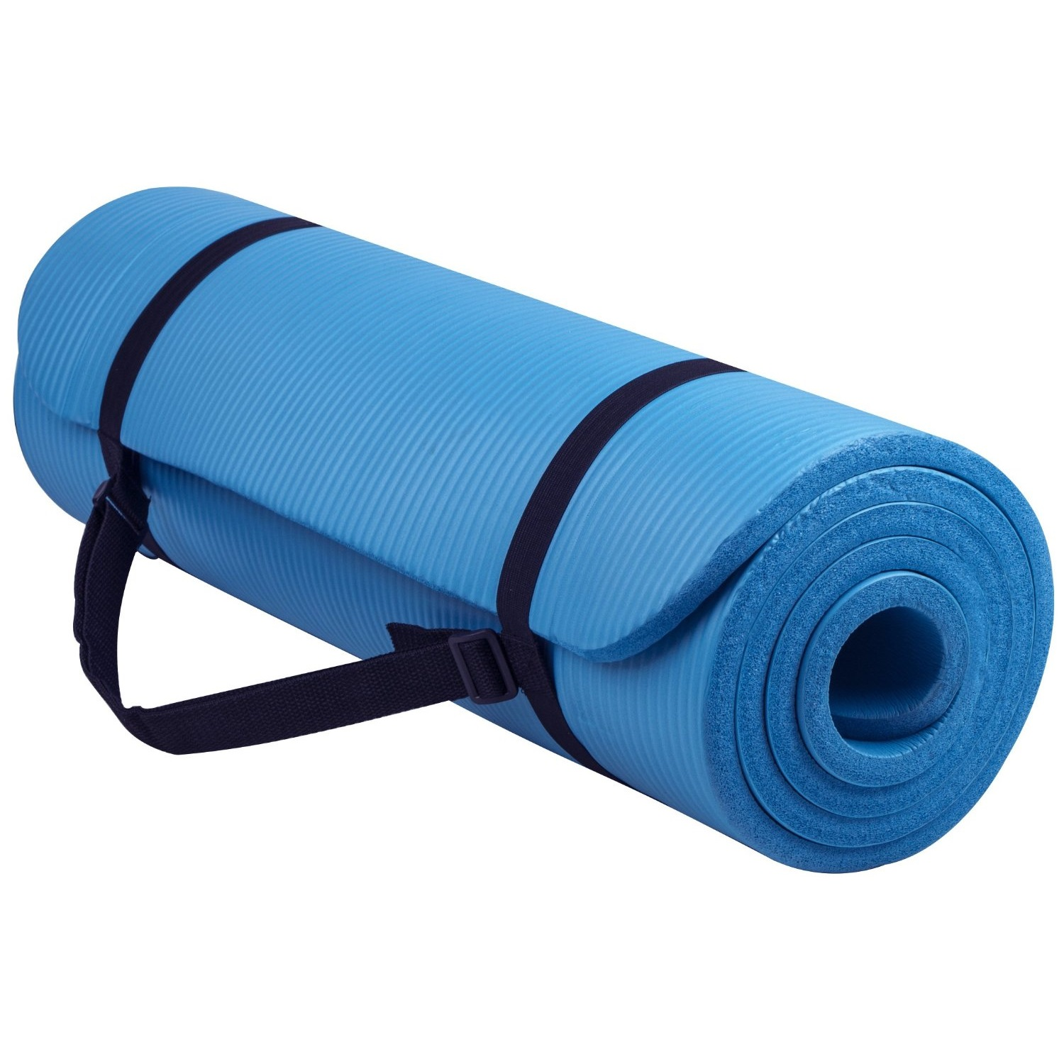 balancefrom goyoga 1/2 inch high density yoga mat with carrying strap blue