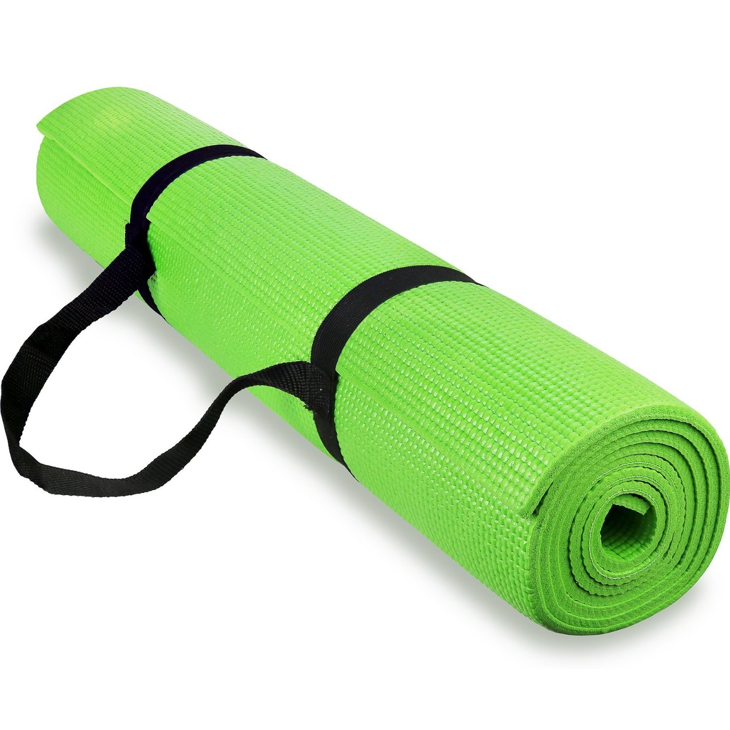 spoga anti-slip exercise yoga mat with carrying strap green