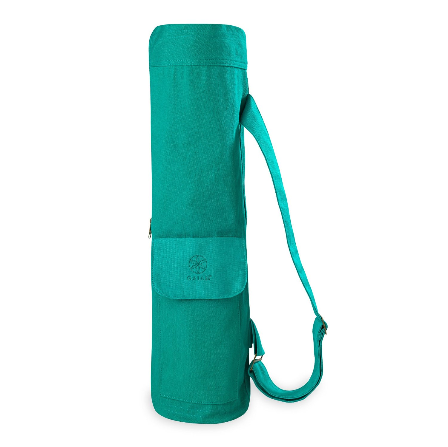 gaiam full-zip cargo pocket yoga mat bag turquoise sea