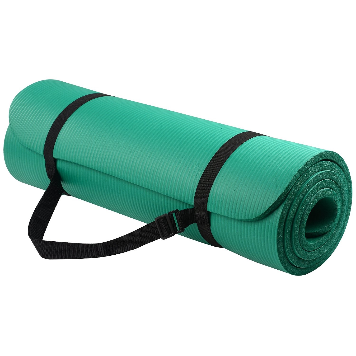 balancefrom goyoga 1/2 inch high density yoga mat with carrying strap green