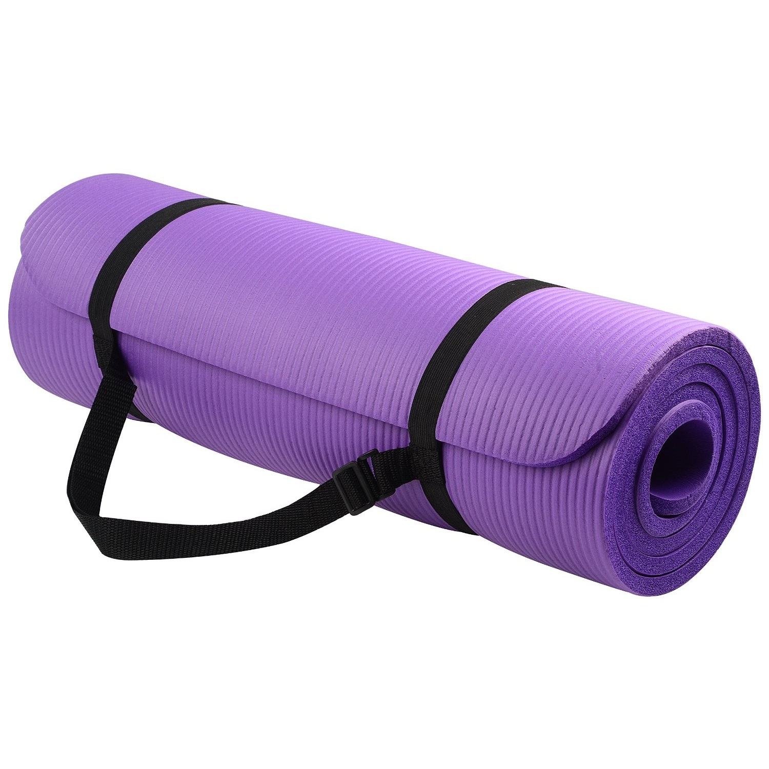 balancefrom goyoga 1/2 inch high density yoga mat with carrying strap purple