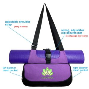 asutra compact yoga mat bag purple