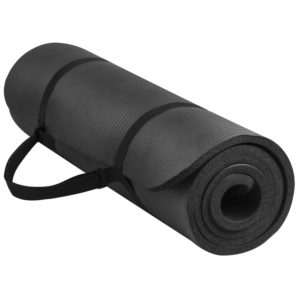 balancefrom goyoga 1/2 inch high density yoga mat with carrying strap black