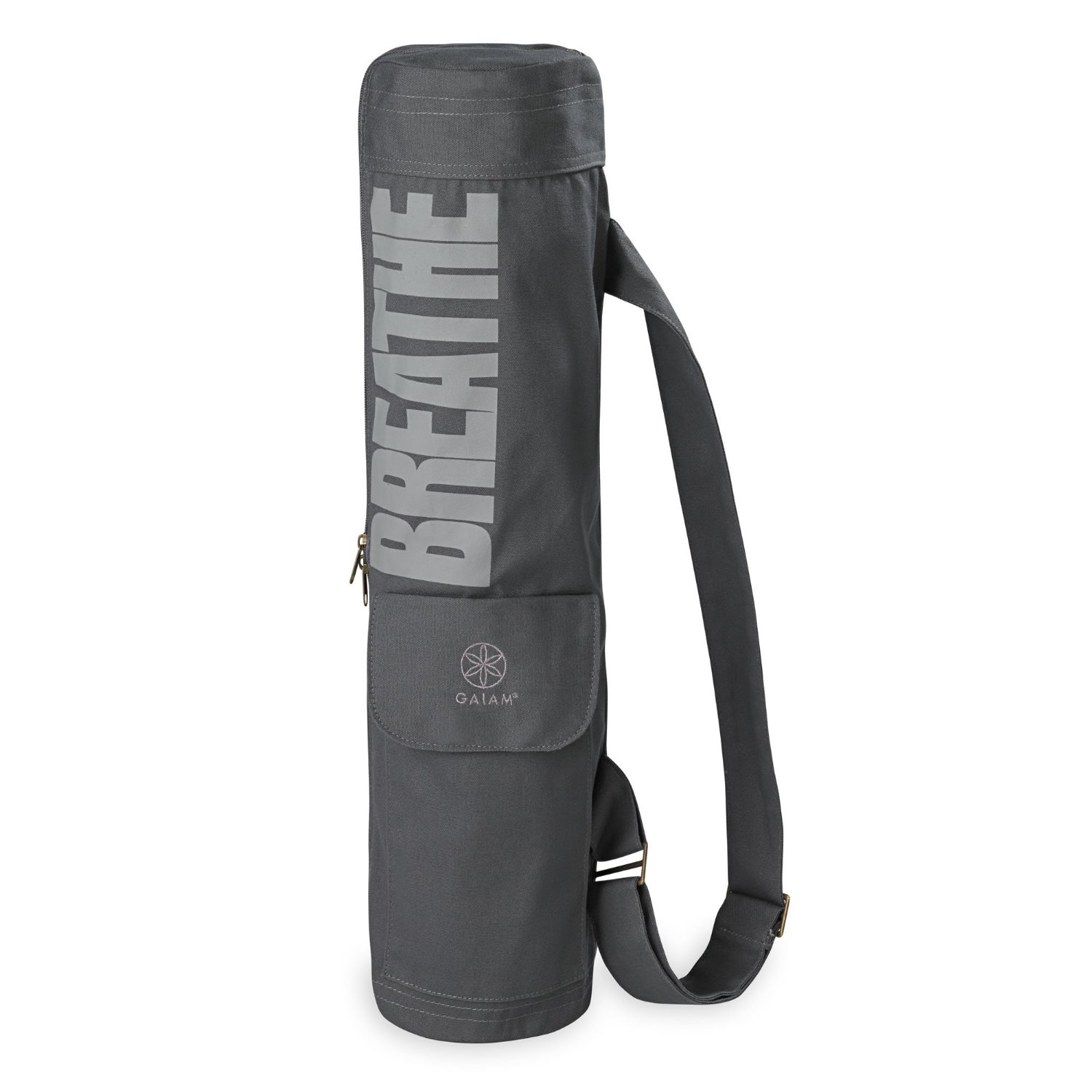 gaiam full-zip cargo pocket yoga mat bag breathe