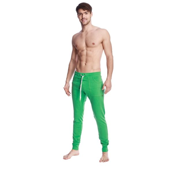 4-rth mens long cuffed jogger yoga pants bamboo green