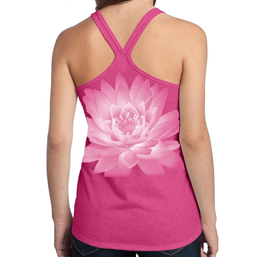 yoga clothing for you ladies lotus flower tank top yoga shirt fuchsia