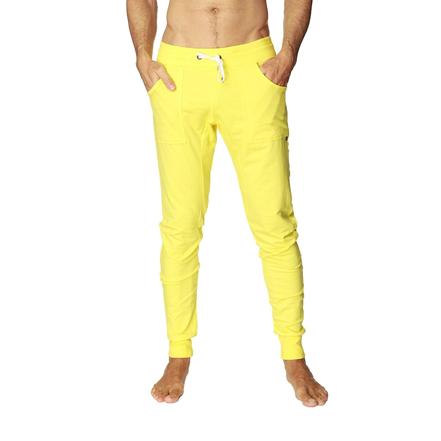 4-rth mens long cuffed jogger yoga pants tropic yellow