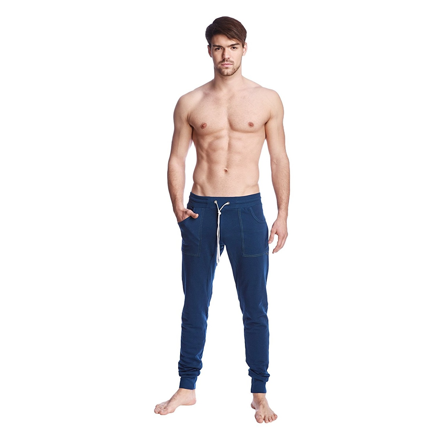 4-rth mens long cuffed jogger yoga pants solid royal blue