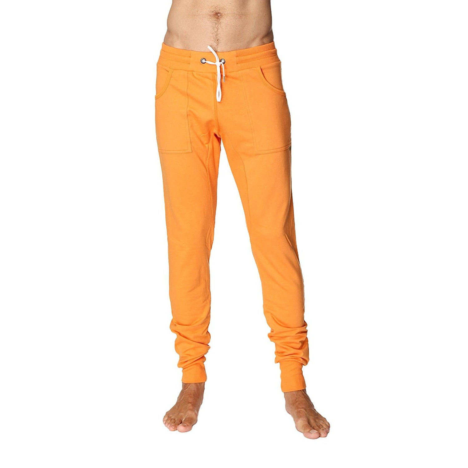 4-rth mens long cuffed jogger yoga pants sun orange