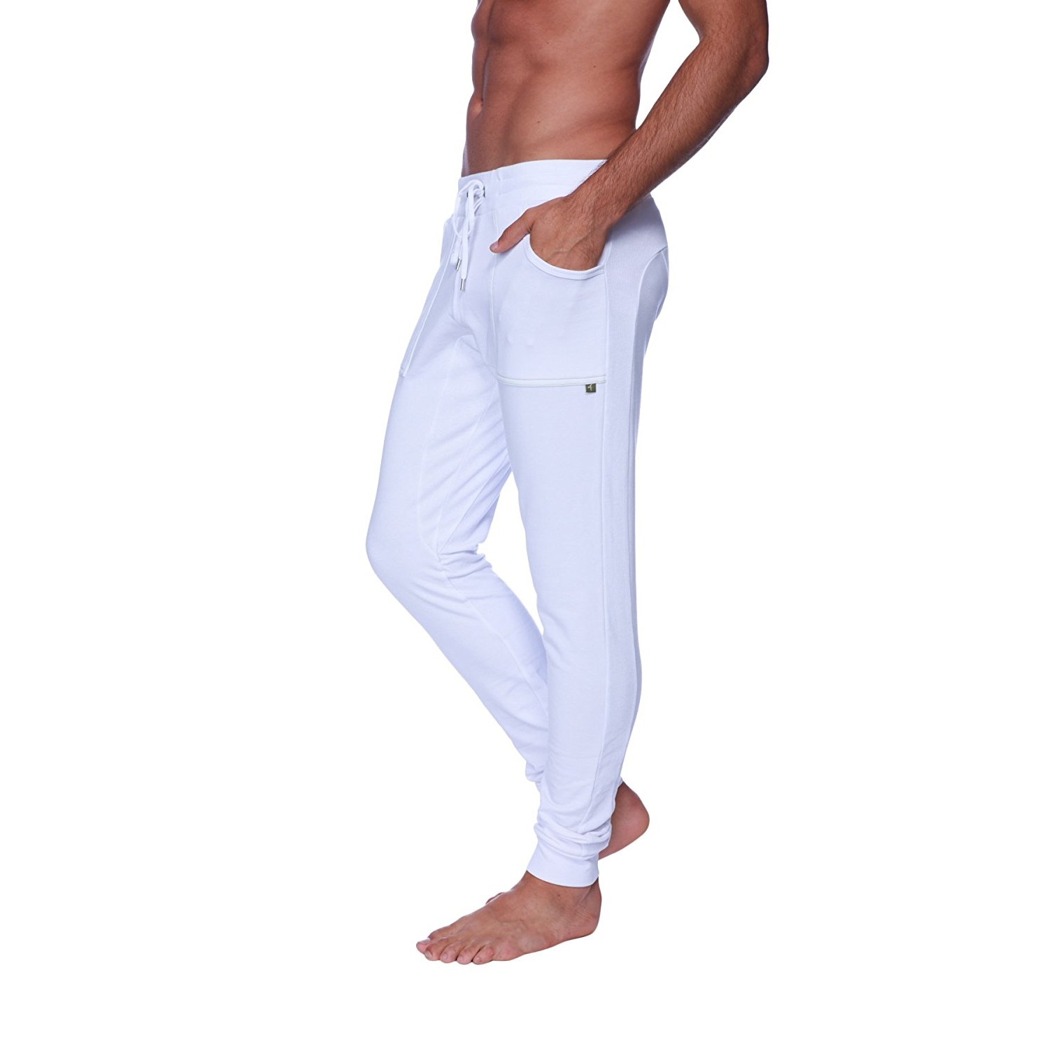 4-rth mens long cuffed jogger yoga pants White
