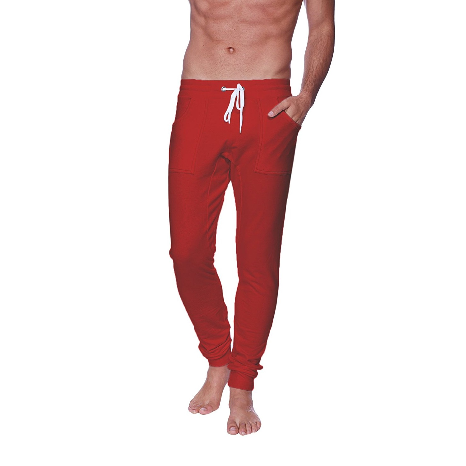 4-rth mens long cuffed jogger yoga pants cinnabar (red)