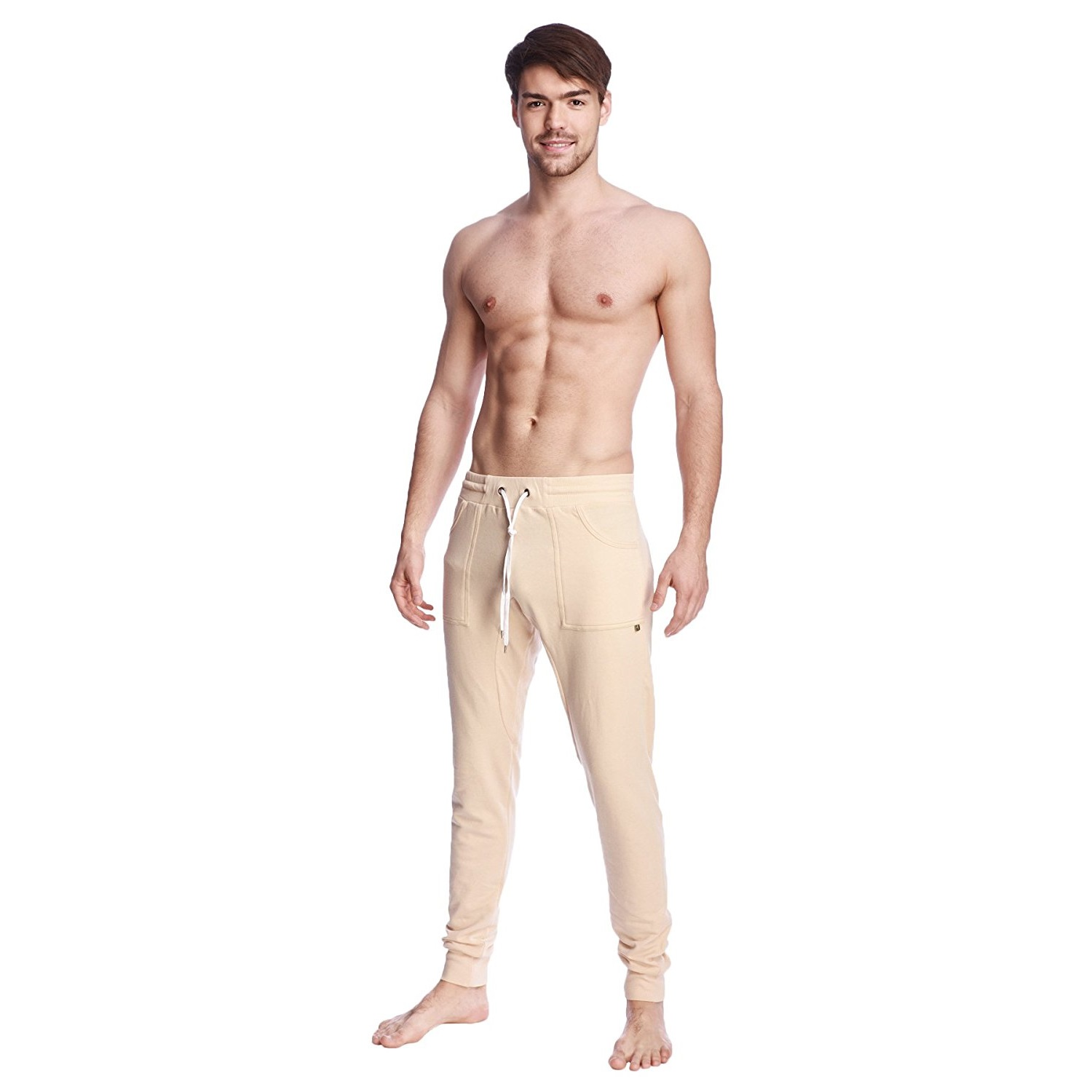 4-rth mens long cuffed jogger yoga pants sand beige