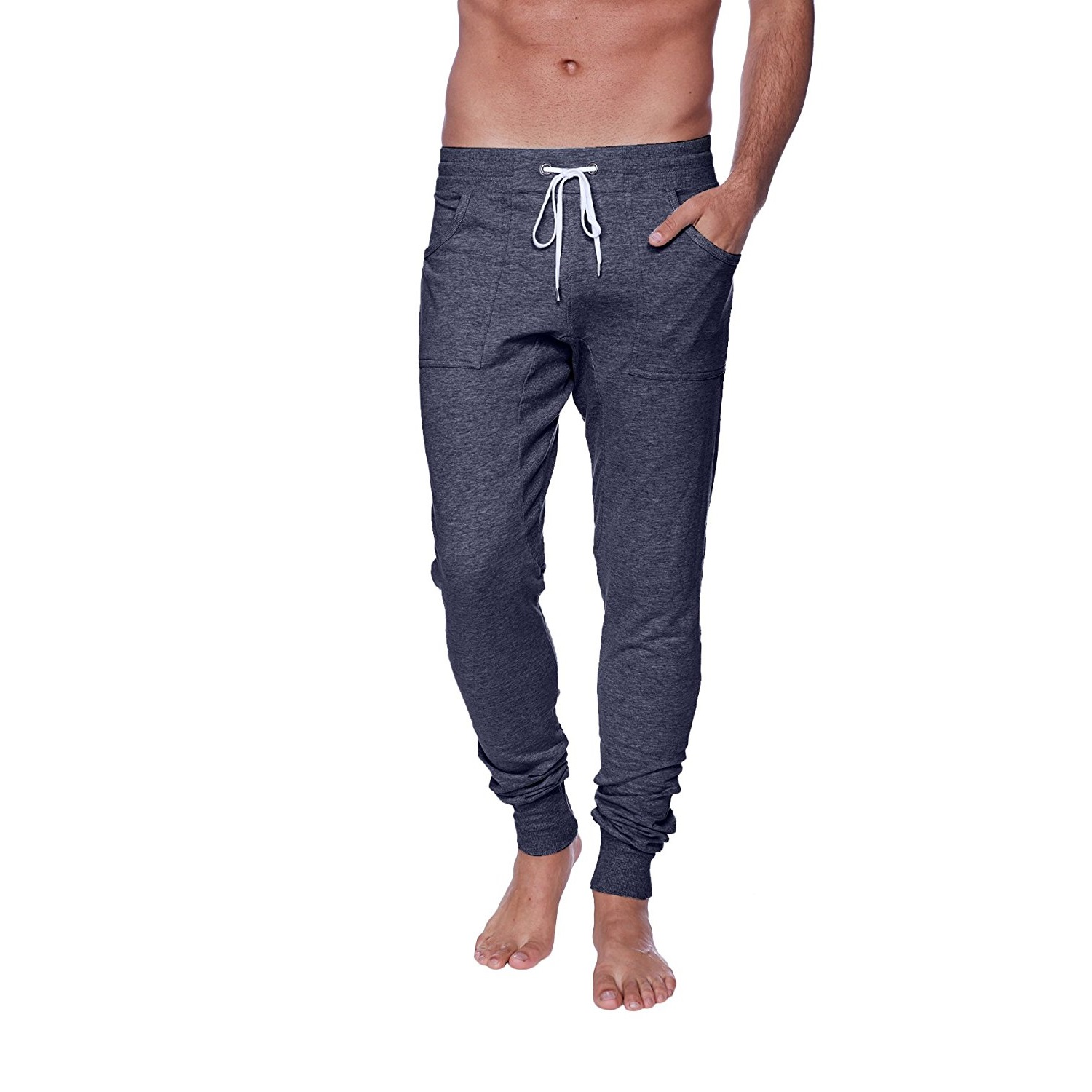 4-rth mens long cuffed jogger yoga pants charcoal