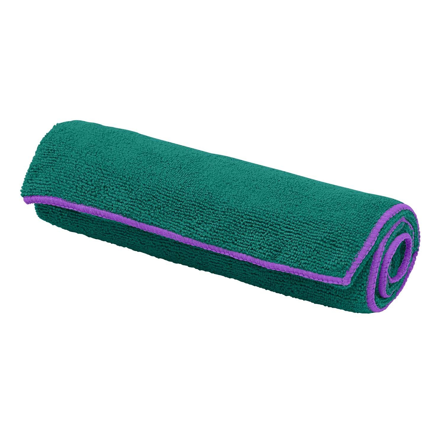 gaiam thirsty yoga towel turquoise sea/radiant orchid