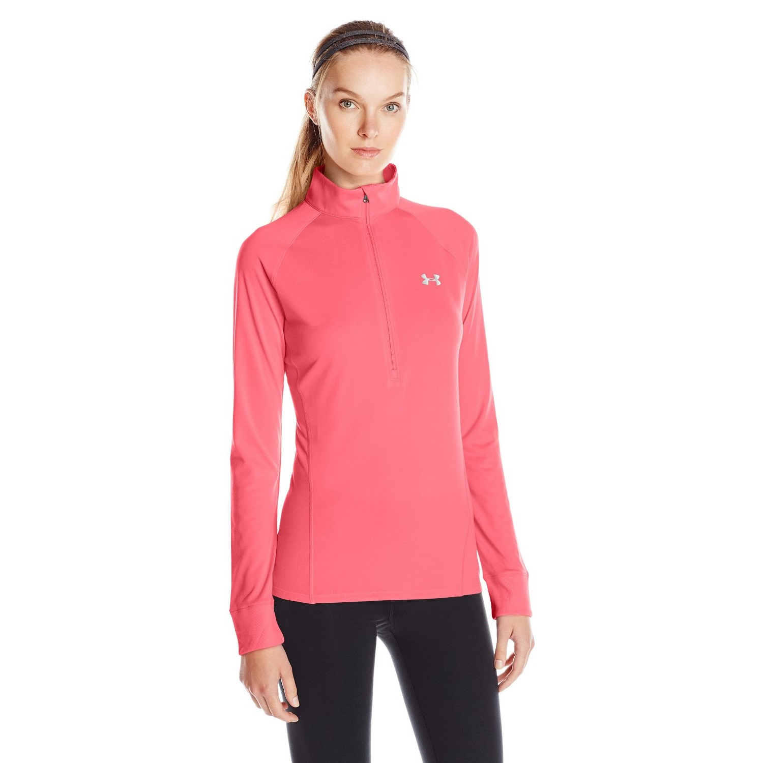 under armour womens tech yoga shirt cerise/metallic silver