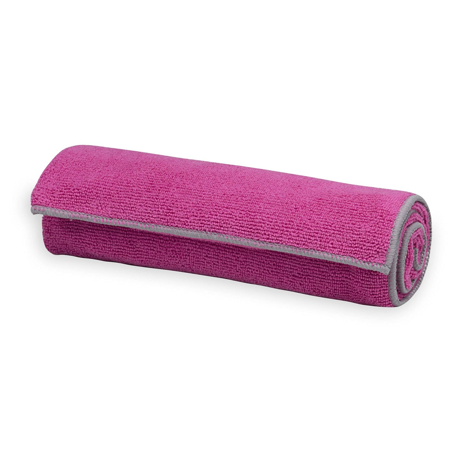 gaiam thirsty yoga towel fuchsia/grey
