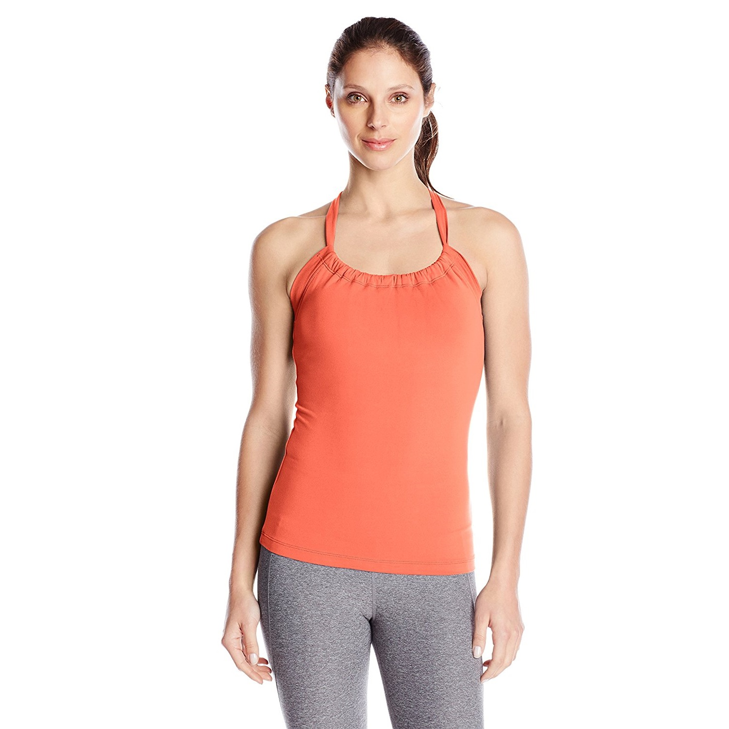 prana womens quinn chakara yoga top shirt neon orange