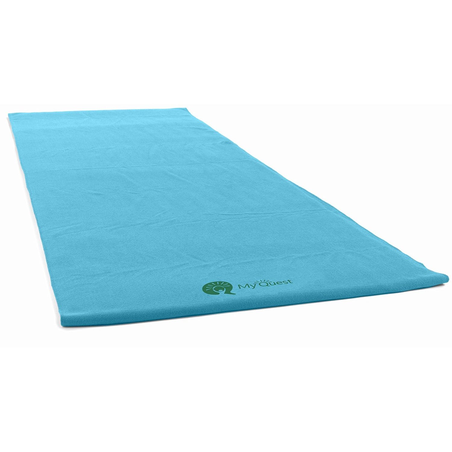 myquest microfiber hot yoga towel carry bag blue
