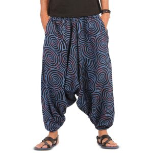 ths mens boho cotton harem yoga pants with pockets blue