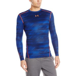 under armour mens cg novelty yoga crew shirt academy/bolt orange