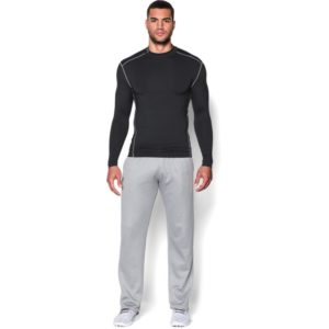 under armour mens coldgear armour compression mock shirt black/steel