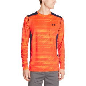 under armour mens long-sleeve raid yoga t-shirt bolt orange/blaze orange
