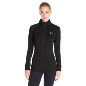 under armour womens tech yoga shirt black/metallic silver