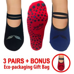 womens yoga socks non-slip bottom 3 pairs blue, black, red