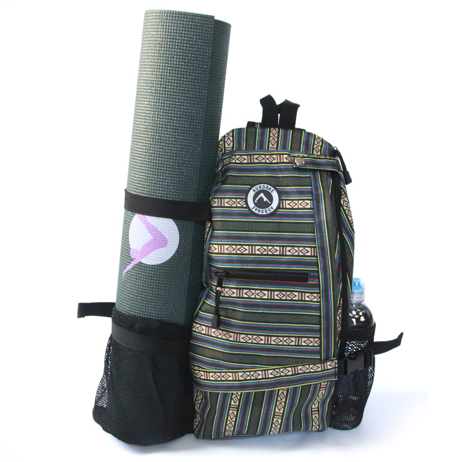 aurorae multi purpose green stripe yoga mat bag