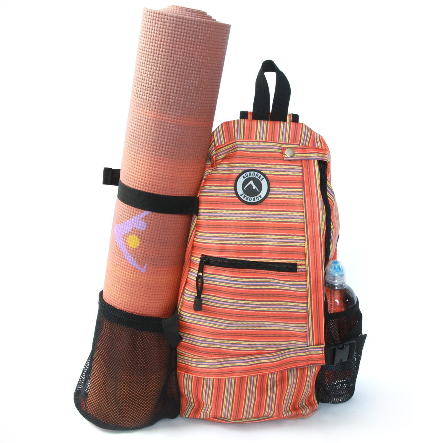 aurorae multi purpose orange stripe yoga mat bag