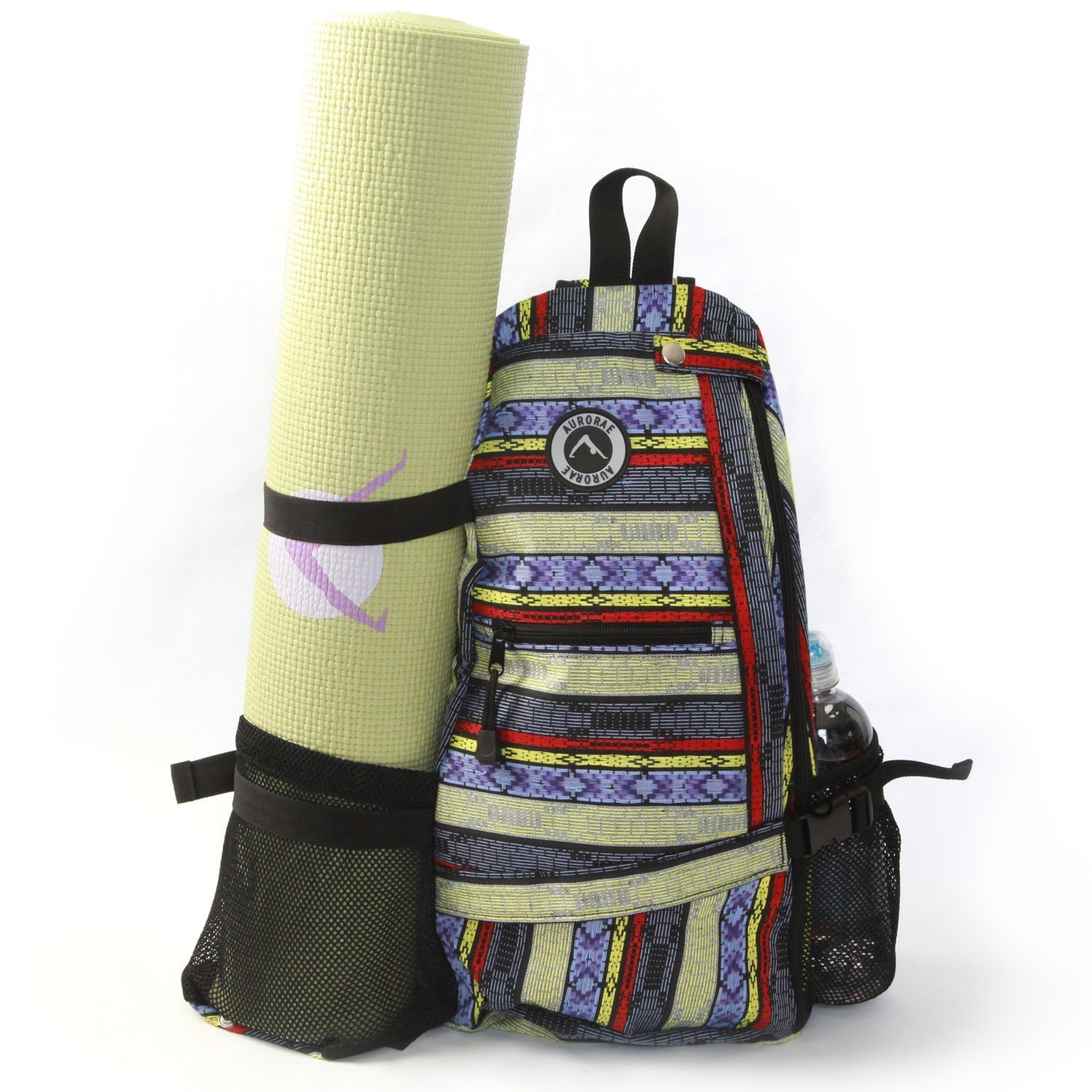 aurorae multi purpose yellow stripe yoga mat bag
